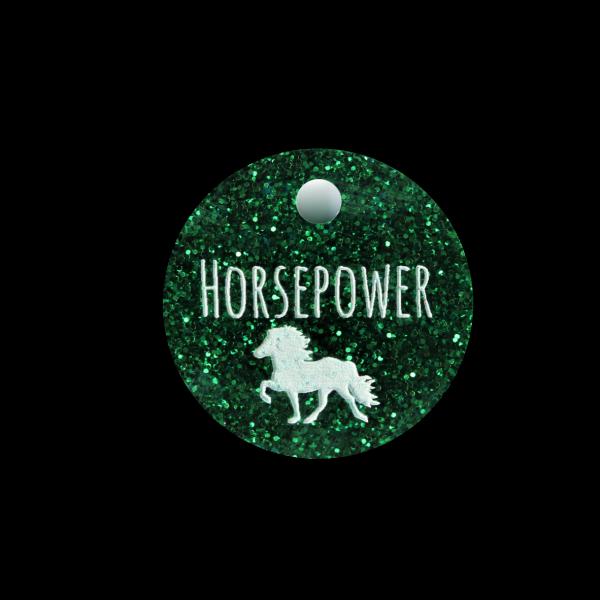 Pferdemarke Glitter mit Gravur rund 25mm