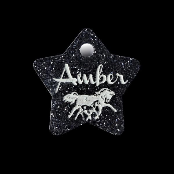 Pferdemarke Glitter mit Gravur Stern 35mm