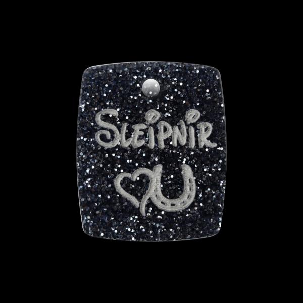 Pferdemarke Glitter mit Gravur Plakette 27mm