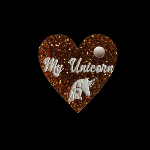Pferdemarke Glitter mit Gravur Herz 25mm