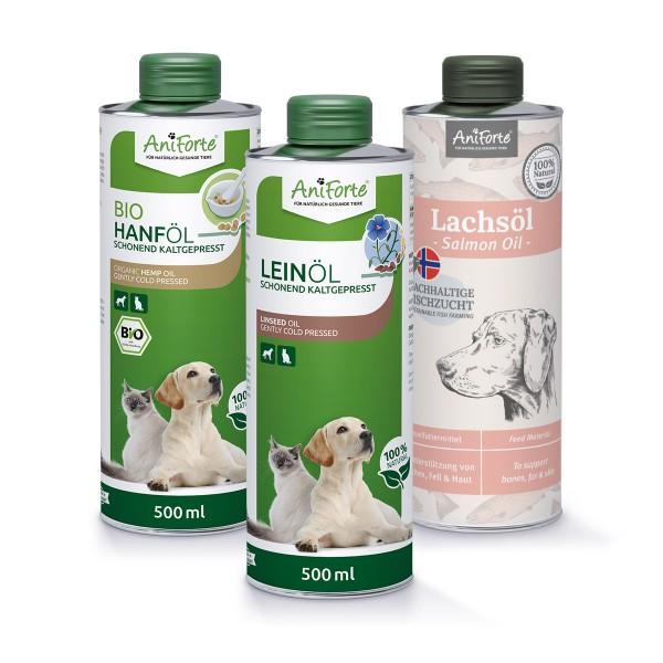 AniForte® Barf-Öl Set mit Lachsöl, Leinöl und Hanföl