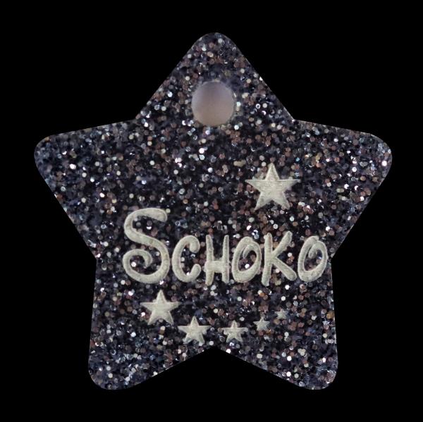 Hundemarke Glitter mit Gravur Stern 27mm