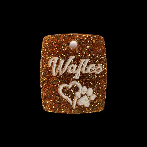 Hundemarke Glitter mit Gravur Plakette 27mm