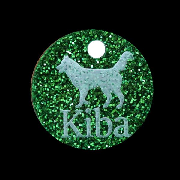 Hundemarke Glitter mit Gravur Rund 25mm